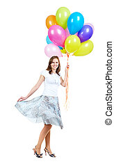 Festivity - A young woman with balloons isolated on white