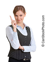 Attention - Portrait of a pretty woman with raised finger...