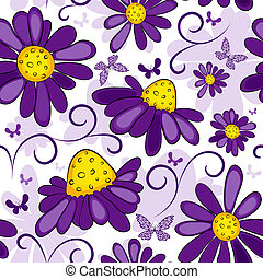 Floral seamless white-violet pattern with flowers and...
