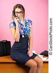 Portrait of business woman talking phone