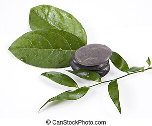 zen stones and leaves with water drops, isolated spa...