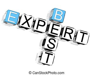 Best Expert Crossword - 3D Best Expert Crossword on white...