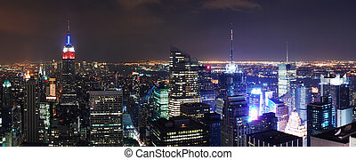 New York City Manhattan skyline panorama aerial view at...