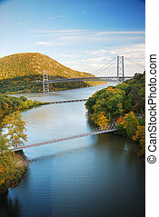Hudson River valley in Autumn with colorful mountain and...