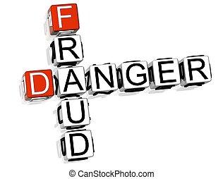 Fraud Danger Crossword - 3D Fraud Danger Crossword on white...
