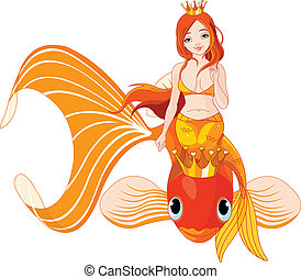 Mermaid riding on a golden fish