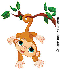 Baby monkey on a tree - Illustration of Cute baby monkey on...