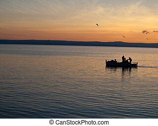 Pescador, homens, mar, Gaivotas, pôr do sol