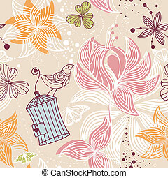 seamless cute floral background - abstract seamless cute...