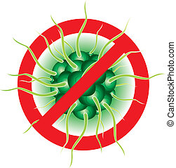 Virus - Stop Flu virus. Illustration isolated on white...