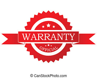 Vector label - Vector illustration of a red  warranty label