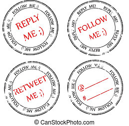 set of stamps to Twitter: follow, reply, retweet - a set of...
