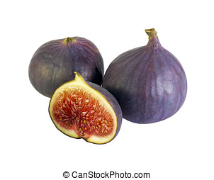 figs isolated on white - delicious figs and a few halves...