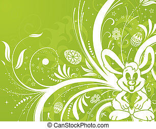 Easter background with eggs, rabbit and flower - Easter...