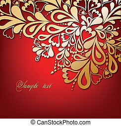 Red Floral Background. Vector