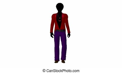 African American Disco Guy Walking