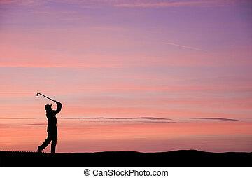 golfeur, silhouette, contre, abrutissant, Coucher soleil,...