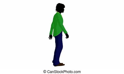 Disco Guy Walking - Disco guy walking on a white background
