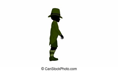 African American Leprechaun Walking