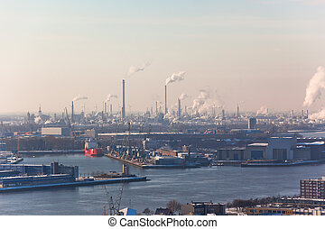 Rotterdam Industrial area. harm to the environment. View...