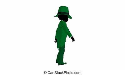 African American Leprechaun Walking - African american...