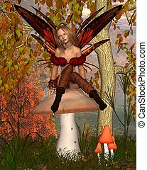 Autumn Fairy in Woodland