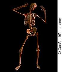 Skeleton in Spooky Red Lighting