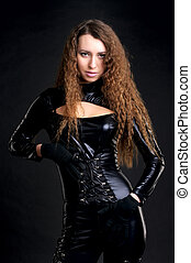 Sexy woman in skintight latex - Portrait of sexy woman in...