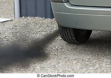 Automobile pollution - Air pollution emitted by the black...