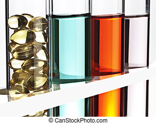 Test tubes filled with colored fluid, one filled with gel...