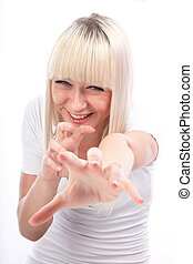 Reaching out - Portrait of excited young woman pointing with...