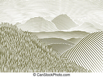 Woodcut Mountain Landscape - Woodcut style illustration of a...