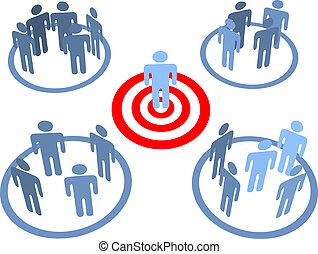 objetivo, alvejado, pessoas, alvo, mercados