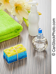 collection of bath articles with flower