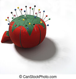 pin cushion tomato - tailor's tomato pin cushion with pins...