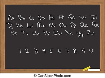 letters and numbers in chalkboard - illustration of letters...