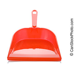 one red dustpan isolated
