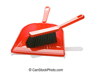 red brush on dustpan isolated