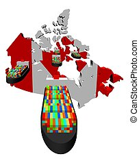 Canada map flag with container ships illustration