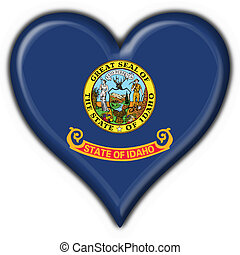 Idaho (USA State) button flag heart shape - 3d made