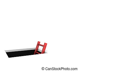 a rectangle hole in the white ground - metallic red ladder...