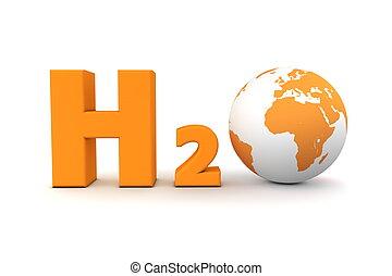 Global Hydrogen Oxide H2O - Orange - chemical symbol H2O for...