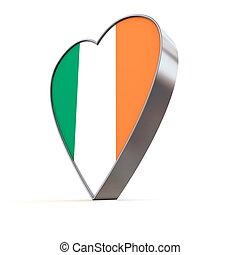 Solid Shiny Metallic Heart - Flag of Ireland - shiny...