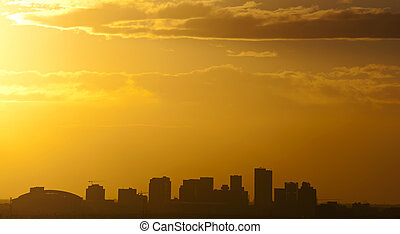 Phoenix, AZ - The city of Phoenix, AZ at sunset