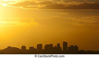 Phoenix, AZ - The city of Phoenix, AZ at sunset