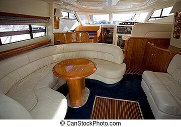 luxury boat - inside of a luxury boat, beautiful cabin...