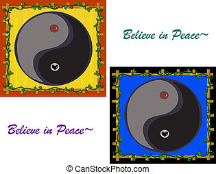 Believe in Peace Yin Yang Symbols