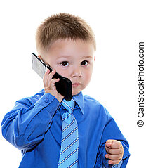 boy with cell phone - boy in business shirt with cell phone