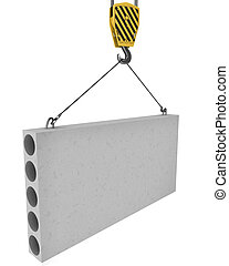 Crane hook lifts up concrete plate isolated on white...
