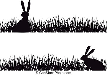rabbit in grass, vector - easter bunny sitting in grass,...